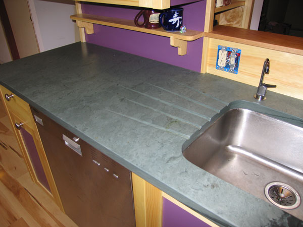 Gentil An Undermount Sink In A Vermont Slate Counter, With A Builtin Drainboard To  The Side
